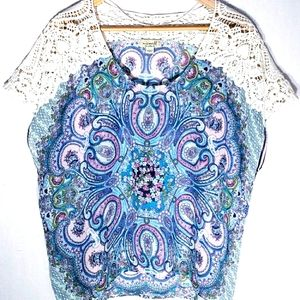 One World Sleeveless Floral Top with Lace  Size XL
